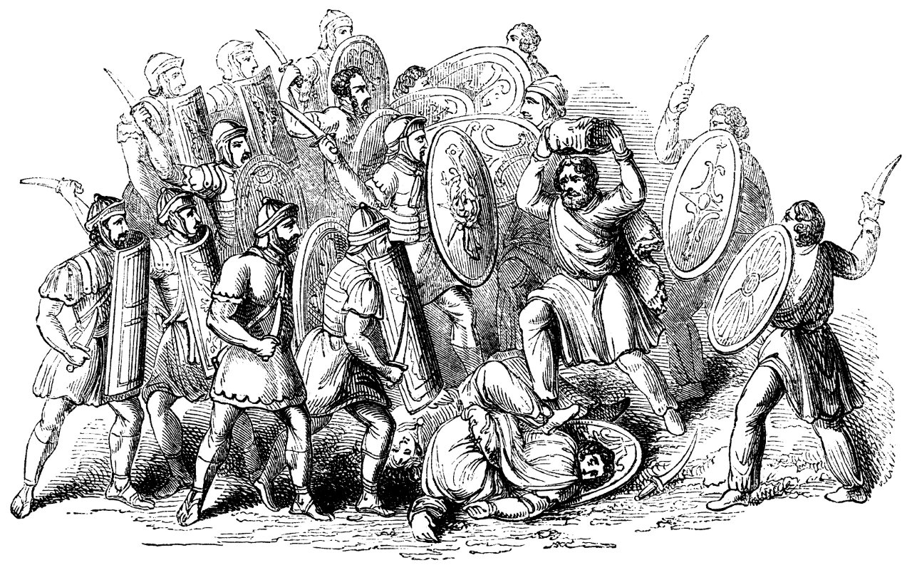 Woodcut engraving of Romans fighting with barbarians