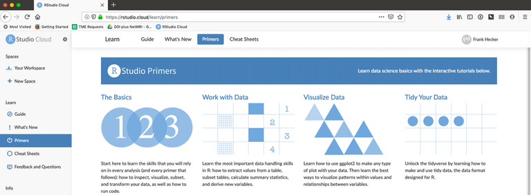 Screenshot of RStudio Cloud, showing the available tutorials