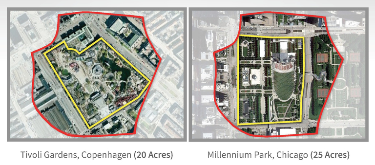 Tivoli Gardens and Millennium Park compared to the Merriweather-Symphony Woods neighborhood